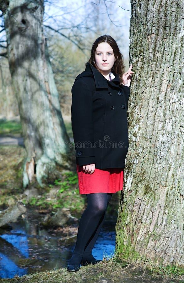 Mujer joven cerca del árbol fotografía de archivo