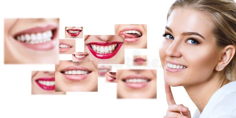 Mujer joven cerca del collage con los dientes de la salud imagen de archivo libre de regalías