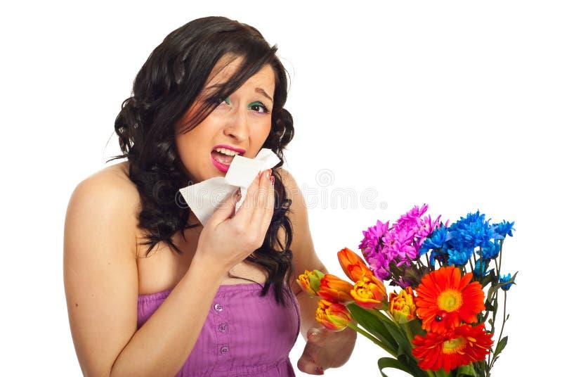Mujer joven con alergia foto de archivo libre de regalías