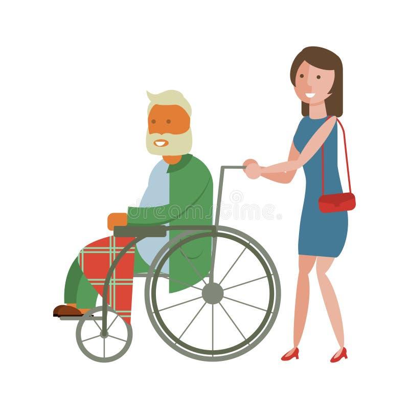 Mujer joven con el abuelo libre illustration