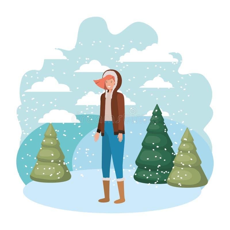 Mujer joven con el carácter del avatar de la ropa del invierno y de los pinos del invierno libre illustration
