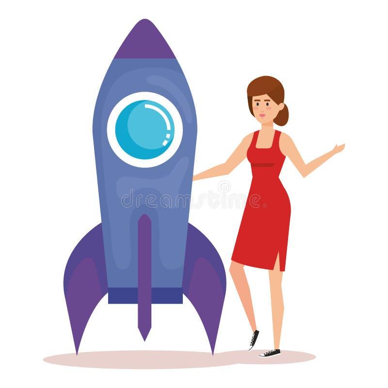 Mujer joven con el cohete ilustración del vector
