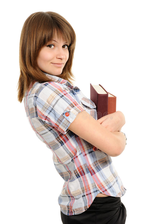 Mujer joven con el libro imagenes de archivo