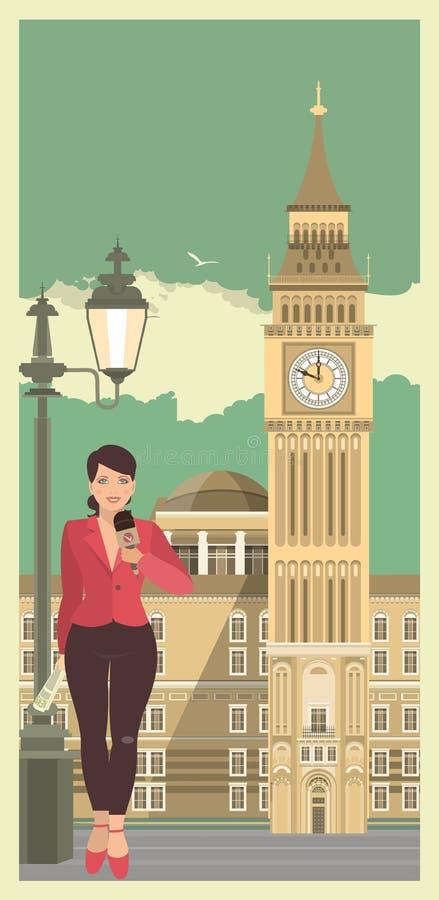 Mujer joven con el micrófono contra la perspectiva de la ciudad stock de ilustración