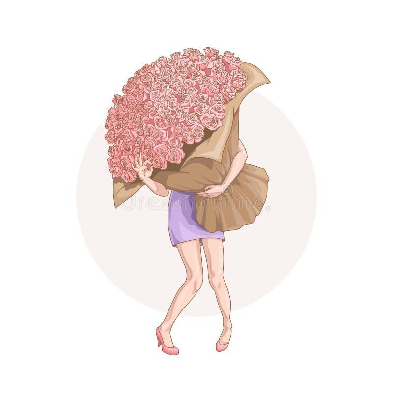 Mujer joven con el ramo enorme de rosas que muestran que ella es aceptable ilustración del vector