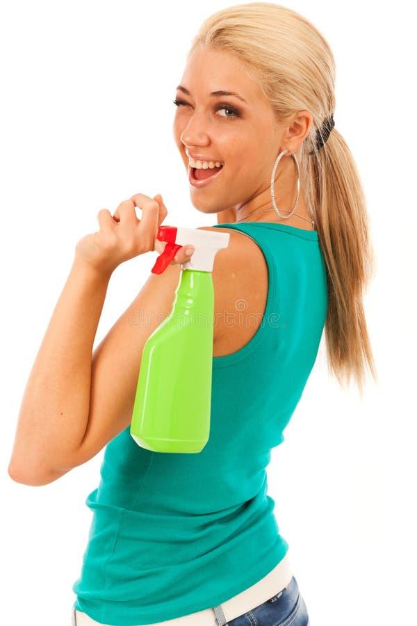 Mujer joven con la botella del espray imagenes de archivo