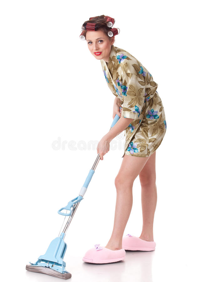 Mujer joven con la fregona. imágenes de archivo libres de regalías