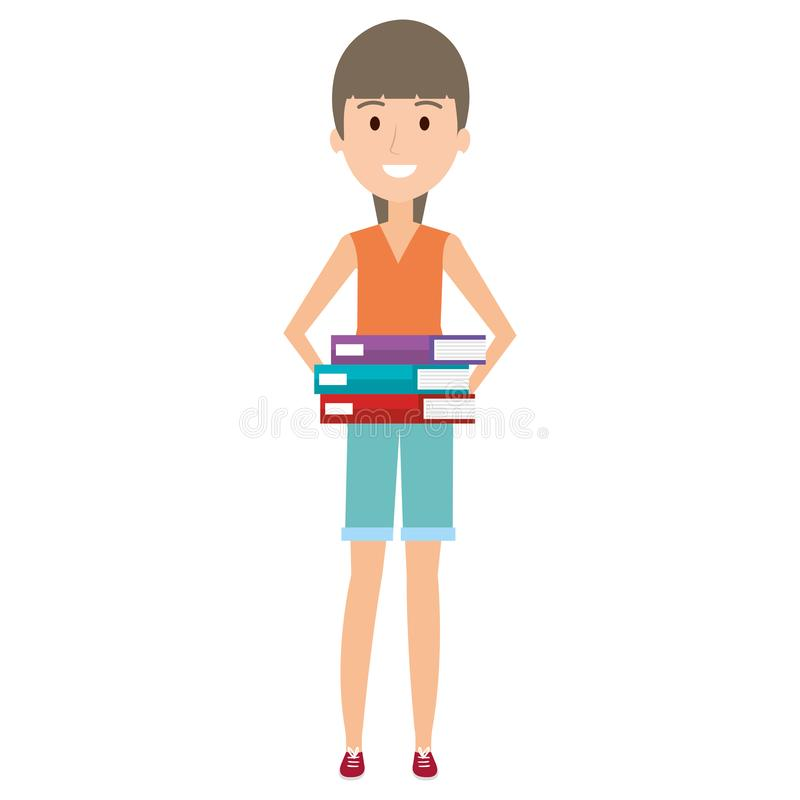 Mujer joven con los libros de la pila stock de ilustración