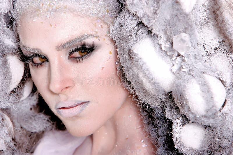 Mujer joven con maquillaje y el peinado de la alta manera imagen de archivo