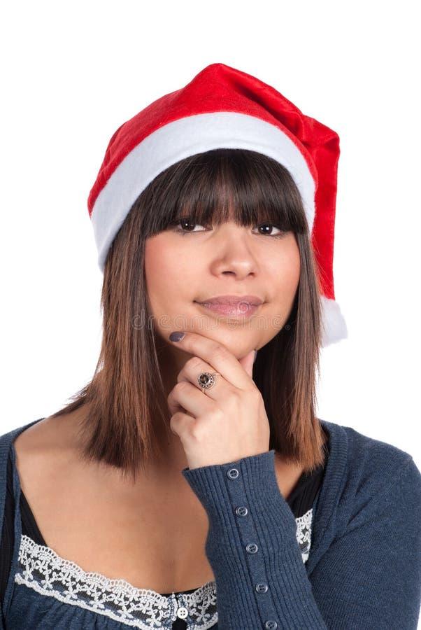 Mujer joven con un casquillo del bolso de la jalea de la Navidad fotos de archivo libres de regalías