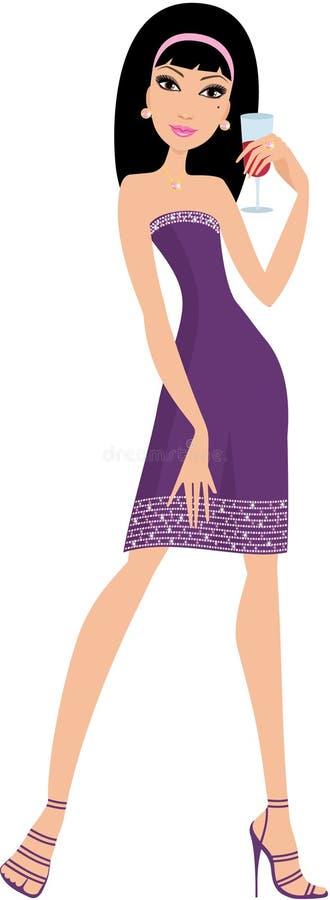 Mujer joven con un vidrio de vino ilustración del vector