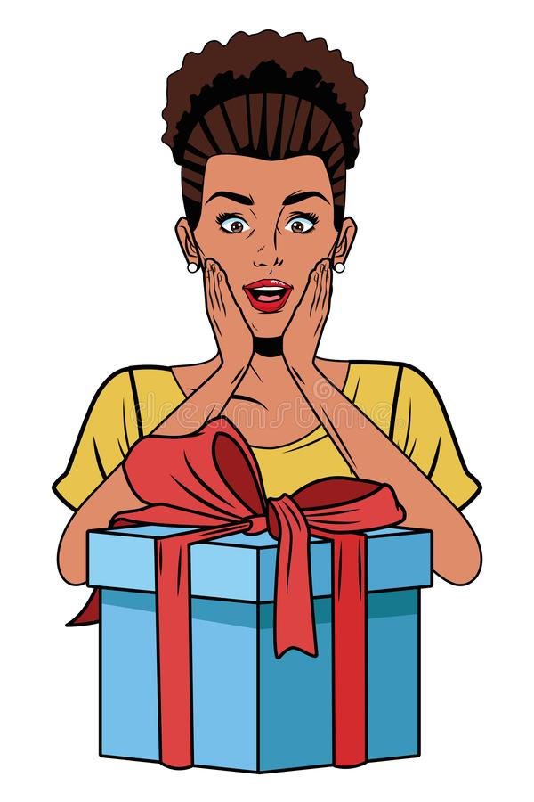 Mujer joven con una caja de regalo libre illustration