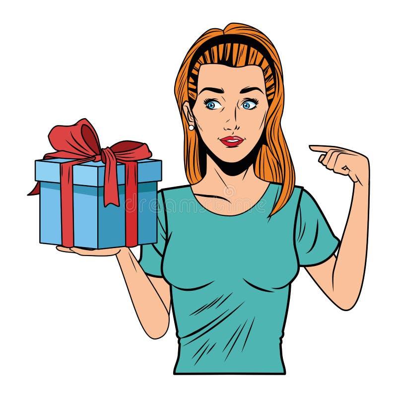 Mujer joven con una caja de regalo ilustración del vector