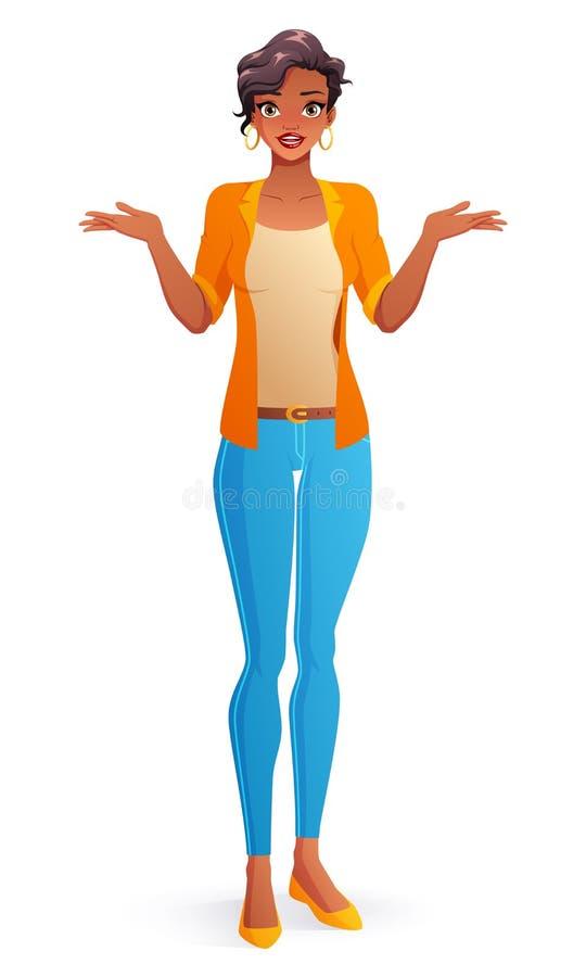 Mujer joven de Afican que pregunta que encoge hombros Ilustración aislada del vector stock de ilustración