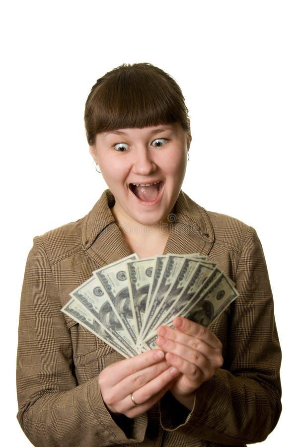 Mujer joven de grito con el dinero fotografía de archivo