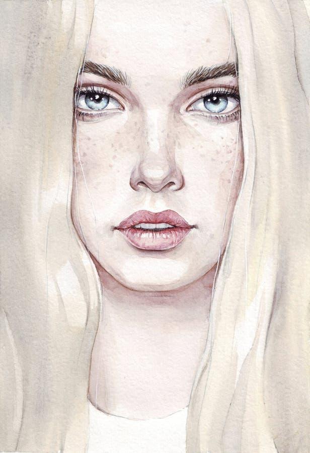 Mujer joven de la acuarela Retrato exhausto de la mano de la muchacha de la belleza Ejemplo de pintura de la moda fotos de archivo libres de regalías