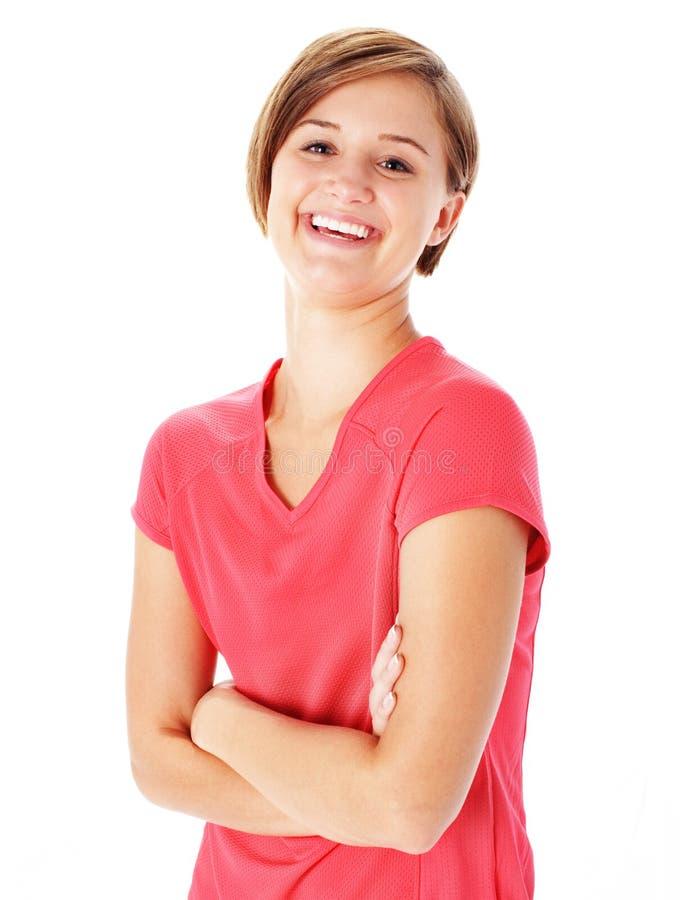 Mujer joven de la aptitud en la camisa roja aislada en blanco fotos de archivo