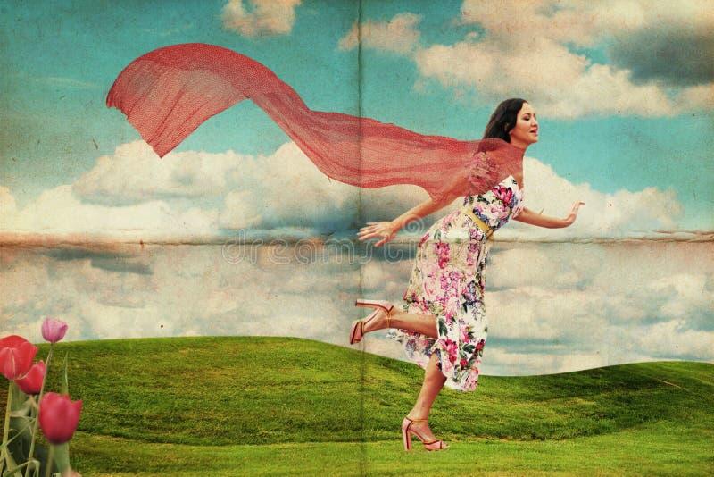 Mujer joven de la belleza que se ejecuta en prado stock de ilustración