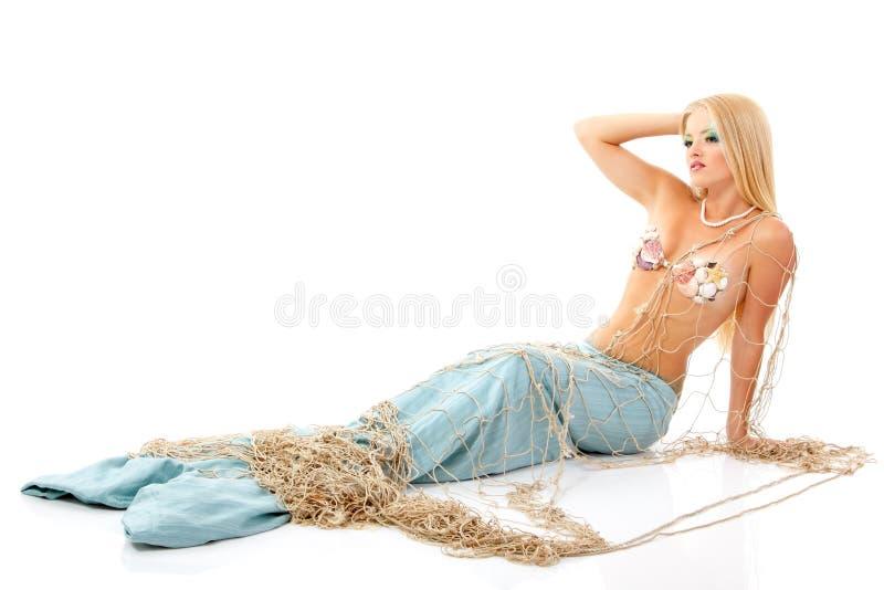 Mujer joven de la mitología mágica hermosa de la sirena imagen de archivo