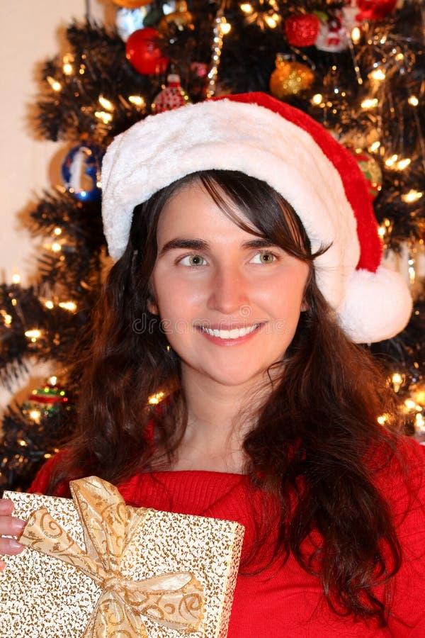 Mujer joven de la Navidad fotos de archivo