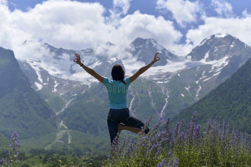 Mujer joven de los deportes que hace yoga en la hierba verde en el verano fotos de archivo