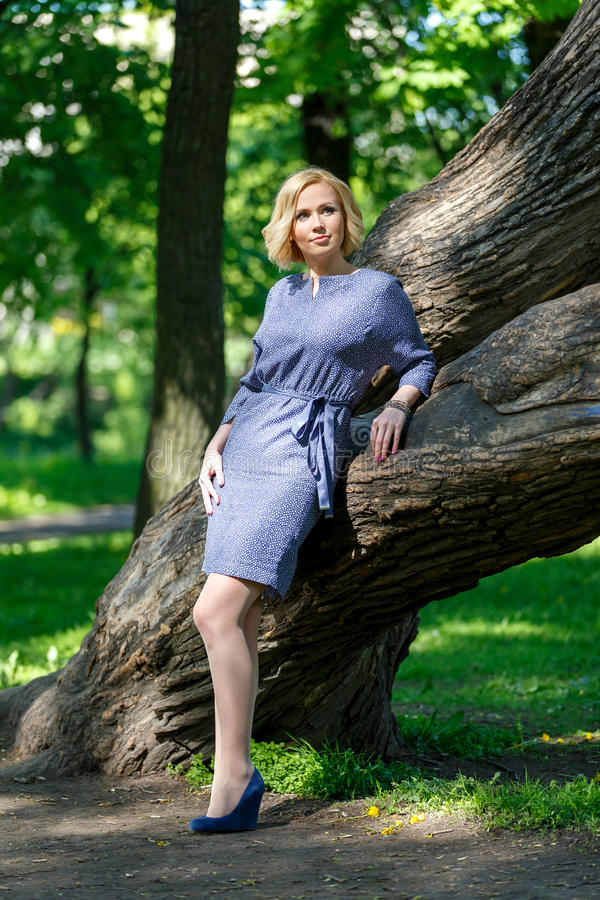 Mujer joven de moda elegante que se coloca cerca de árbol grande imágenes de archivo libres de regalías