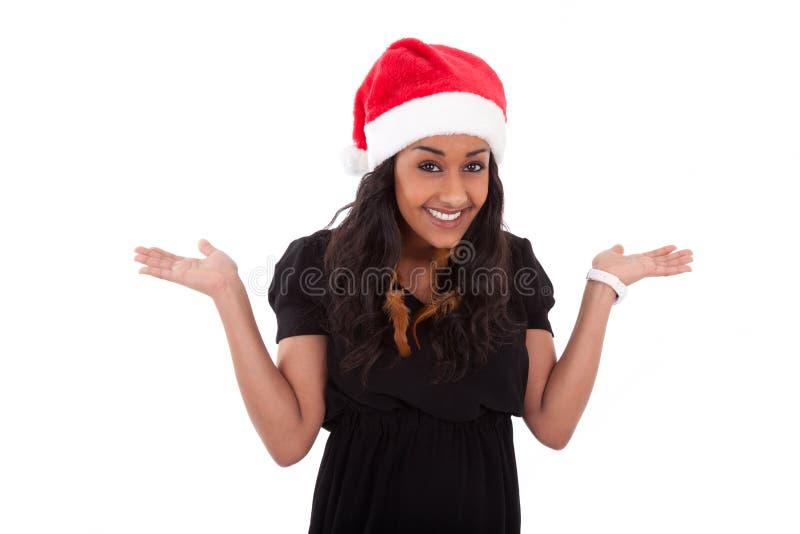 Mujer joven del afroamericano que desgasta un sombrero de santa imagen de archivo libre de regalías