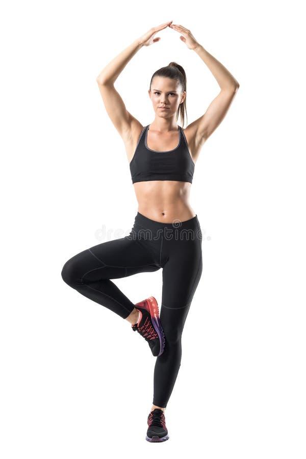Mujer joven del ajuste hermoso que equilibra en sola actitud del árbol de la pierna de la yoga imágenes de archivo libres de regalías