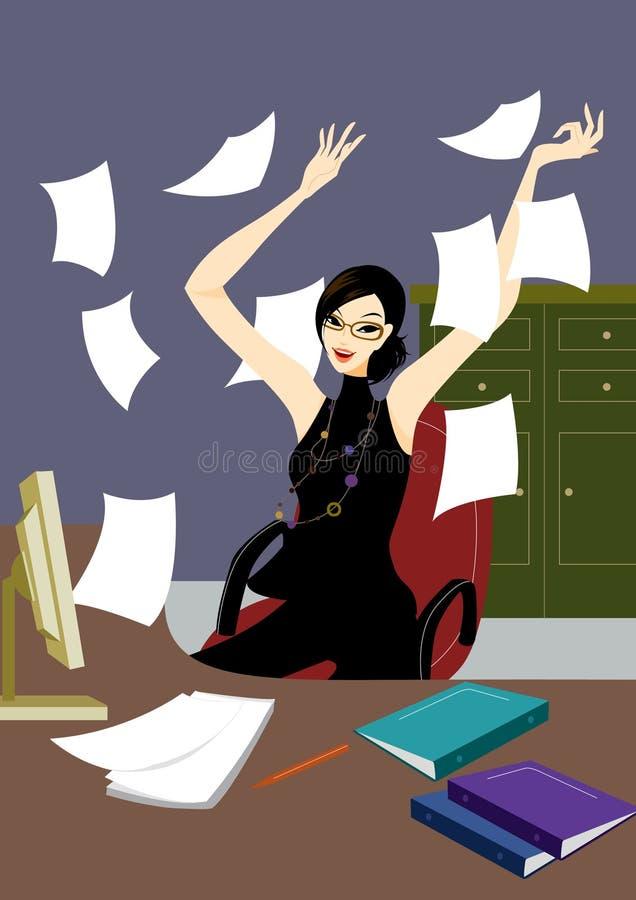 Mujer joven del asunto en la oficina jubilosa en el escritorio ilustración del vector