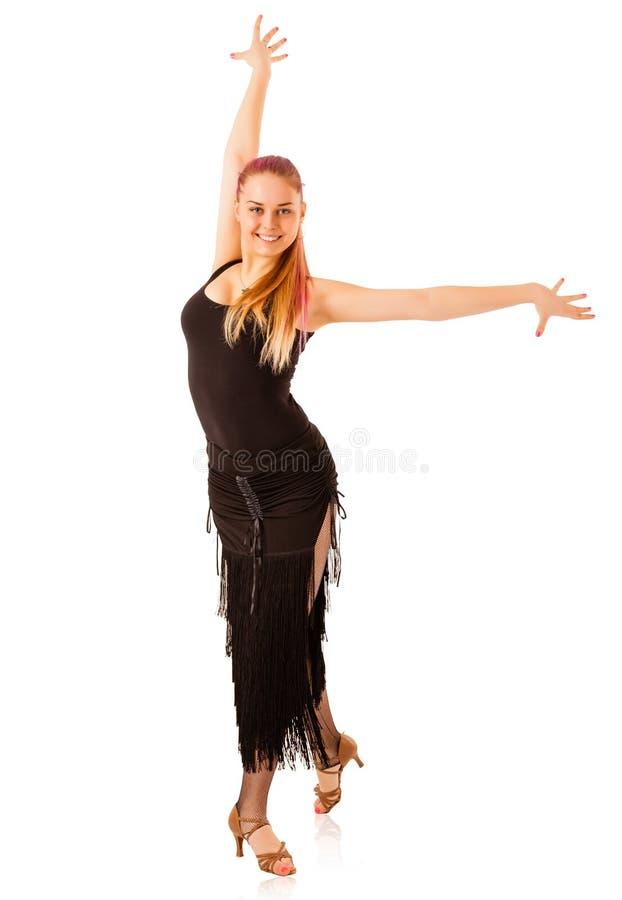 Mujer joven del baile con el vestido negro fotografía de archivo