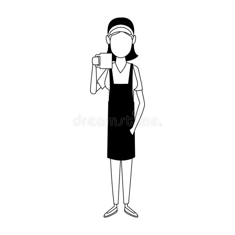 Mujer joven del barista con café en blanco y negro stock de ilustración