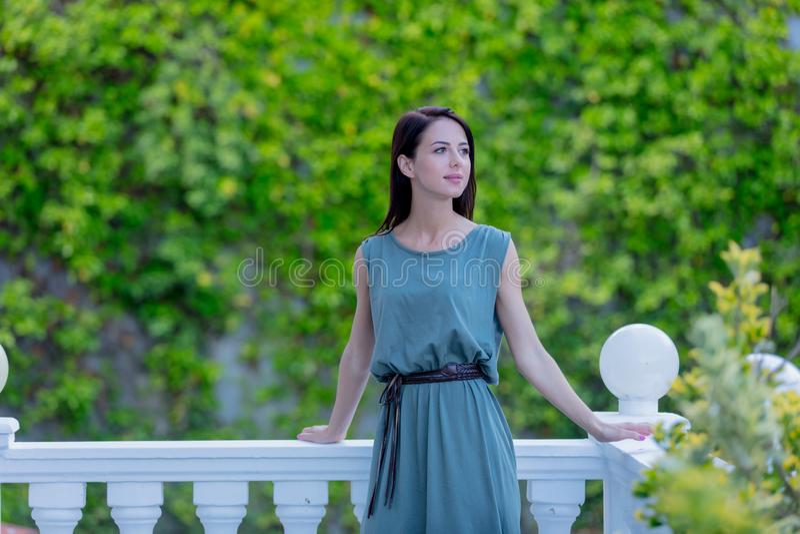 Mujer joven del pelirrojo en el vestido que se coloca en jardín, foto de archivo