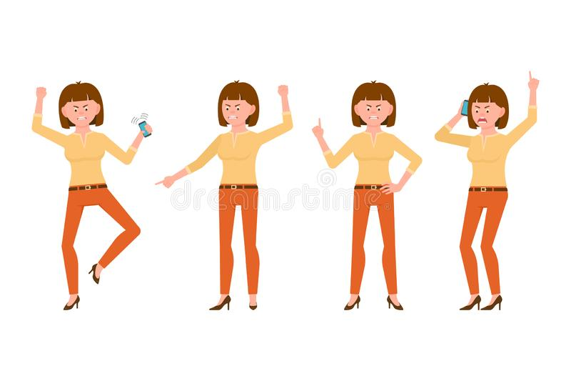 Mujer joven del pelo enojado, subrayado, desesperado, marrón en el ejemplo anaranjado del vector de los pantalones Grito, habland libre illustration