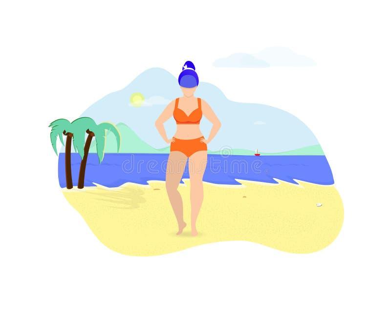 Mujer joven del tamaño extra grande que presenta el verano de la playa ilustración del vector
