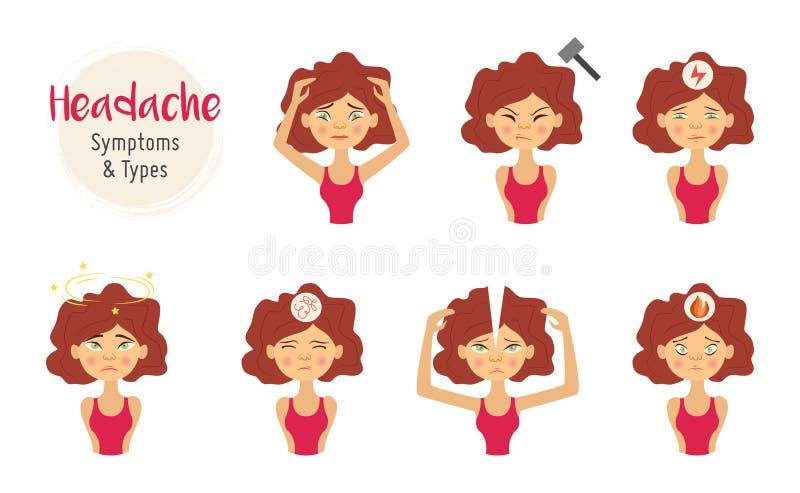 Mujer joven del vector con el sistema del dolor del dolor de cabeza stock de ilustración