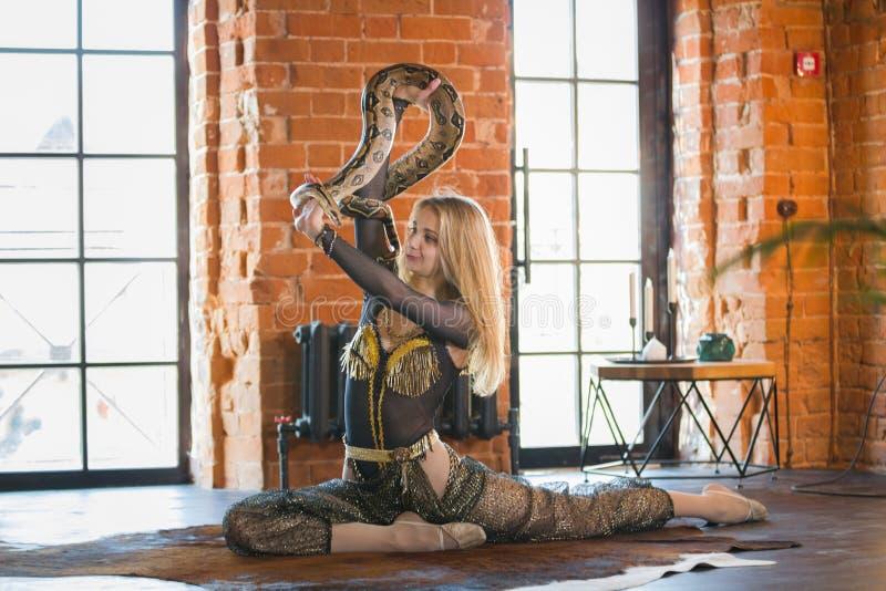 Mujer joven delgada que realiza danza con una serpiente en studia foto de archivo