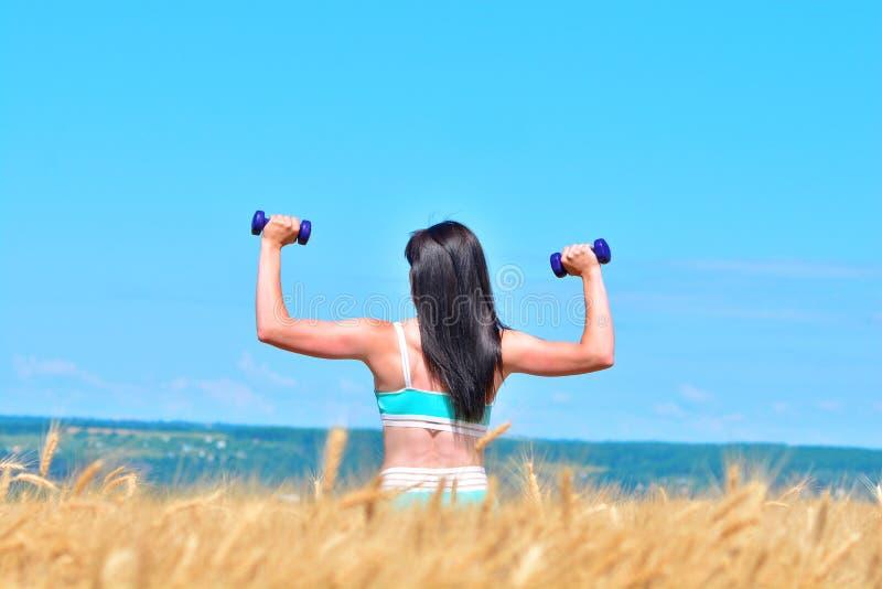 Mujer joven deportiva que hace ejercicio con pesas de gimnasia imagen de archivo libre de regalías