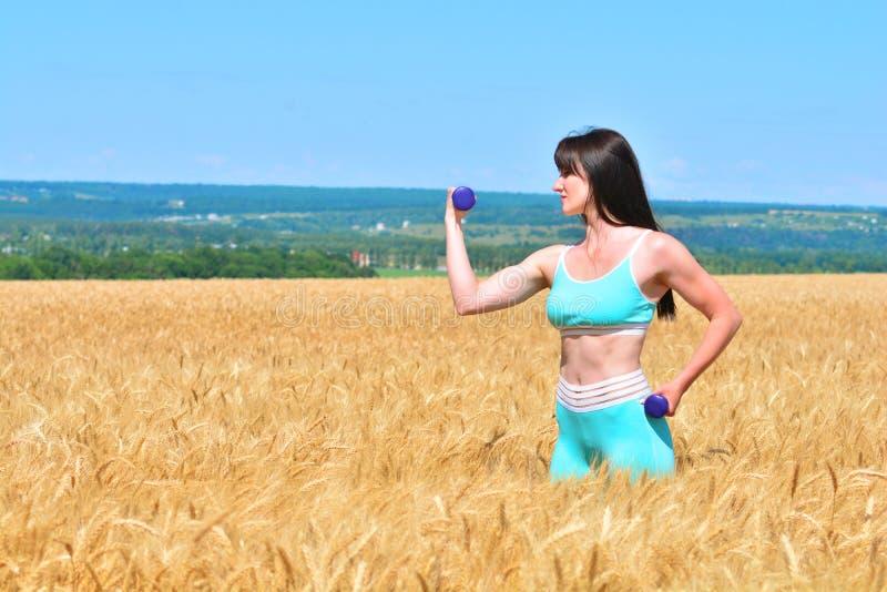 Mujer joven deportiva que hace ejercicio con pesas de gimnasia foto de archivo libre de regalías