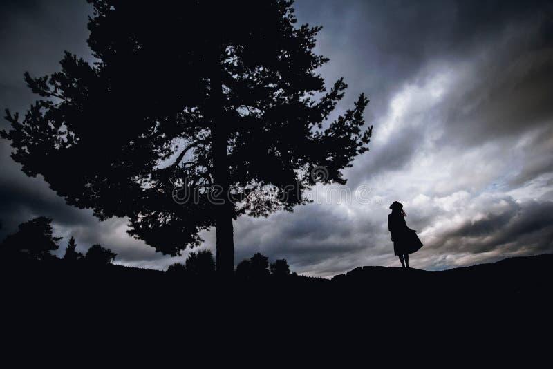 Mujer joven deprimida que se sienta debajo del árbol foto de archivo libre de regalías