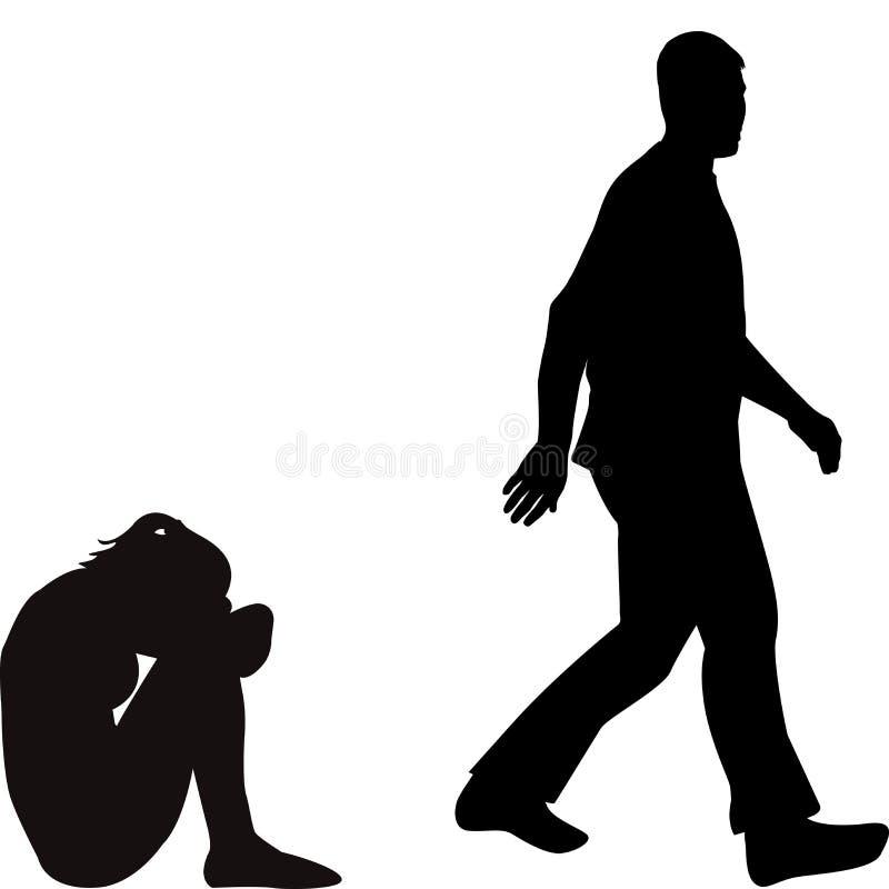 Mujer joven deprimida trastornada abandonada por su novio stock de ilustración