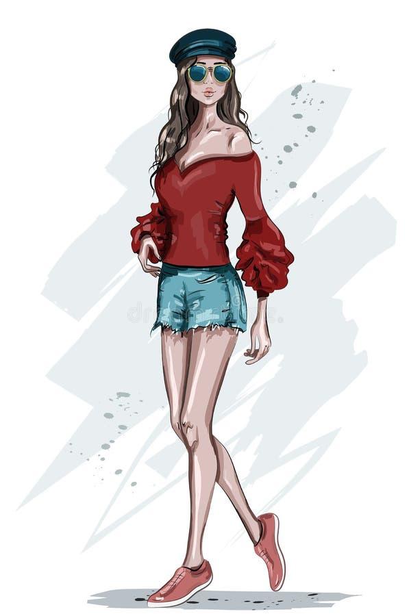 Mujer joven elegante en casquillo Presentación dibujada mano del modelo de moda ilustración del vector