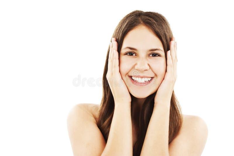 Mujer joven emocionada sorprendida fotografía de archivo libre de regalías