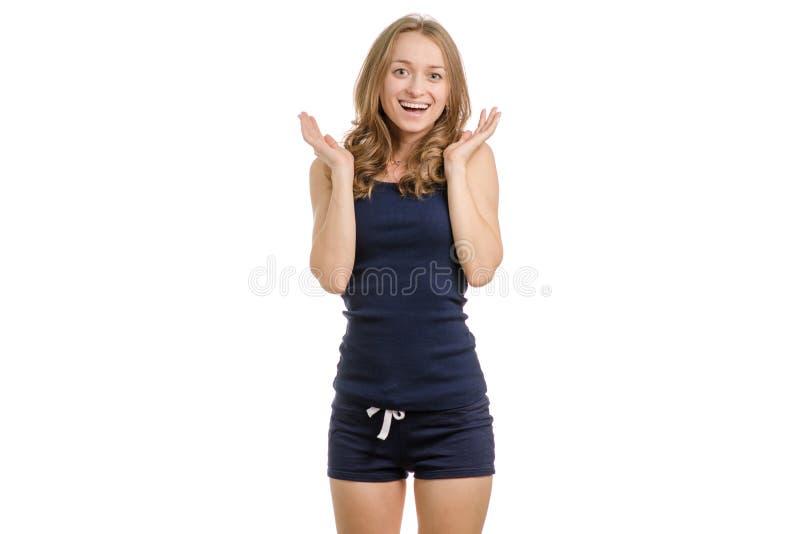 Mujer joven en alegría del choque imagen de archivo libre de regalías