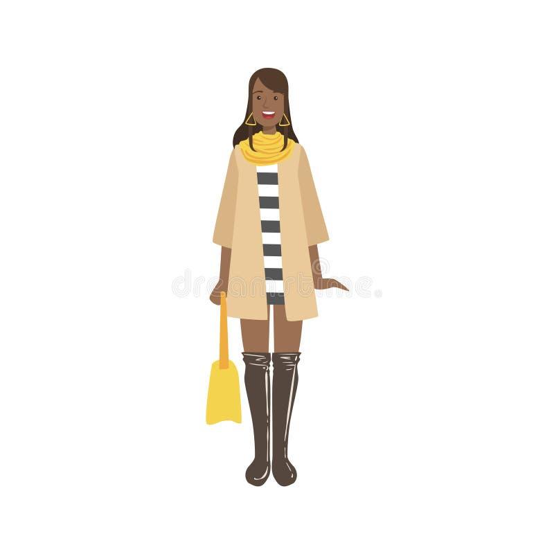 Mujer joven en Autumn Fashionable Street Look ilustración del vector