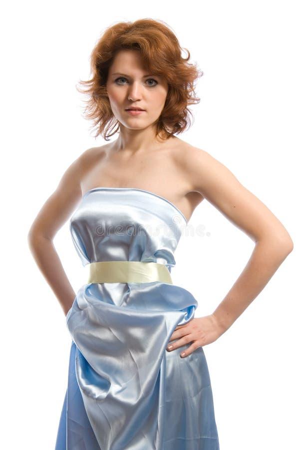 Mujer joven en azul imagen de archivo libre de regalías
