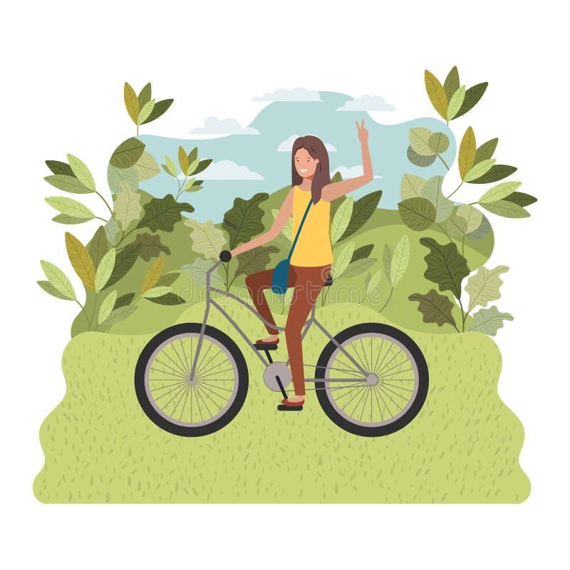 Mujer joven en bicicleta en el parque stock de ilustración