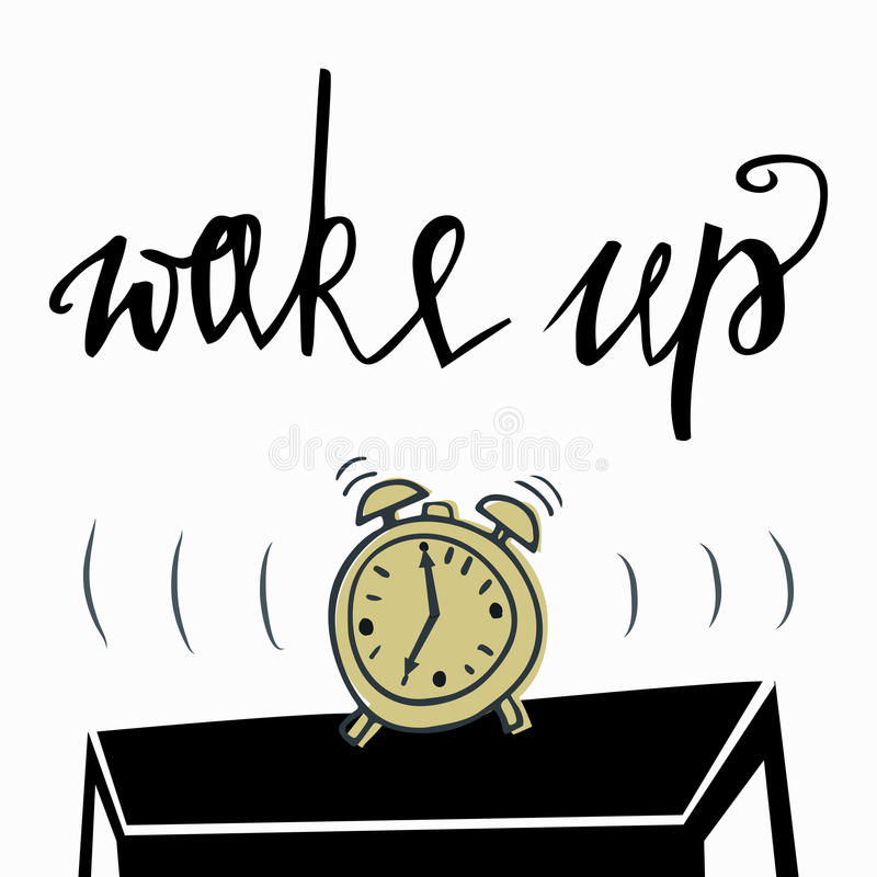 Mujer joven en cama en la mañana Cita inspirada manuscrita con tinta y el cepillo negros, letras de encargo para los carteles, ca stock de ilustración