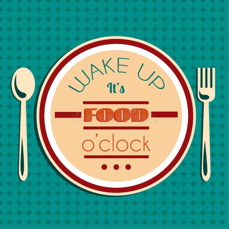 Mujer joven en cama en la mañana Es en punto de la comida Fondo tipográfico de la cita stock de ilustración