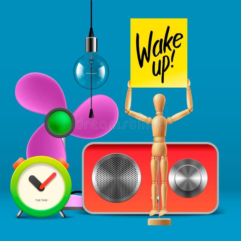 Mujer joven en cama en la mañana Mofa del espacio de trabajo para arriba con el despertador análogo libre illustration