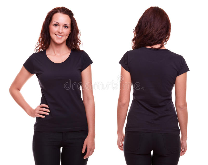 Mujer joven en camisa negra fotos de archivo